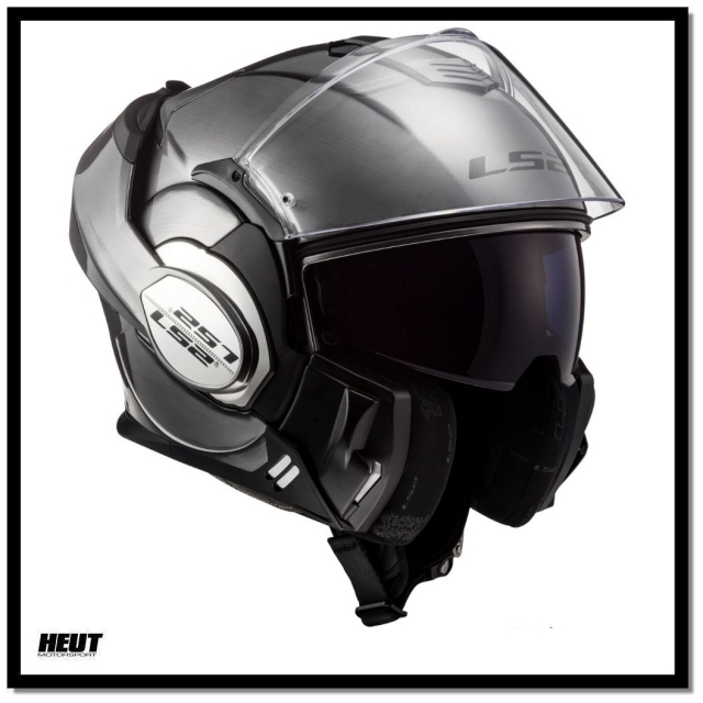 Schwarz//Titanium L LS2 Motorradhelm FF399 VALIANT PROX MATT Schwarz TITANIUM